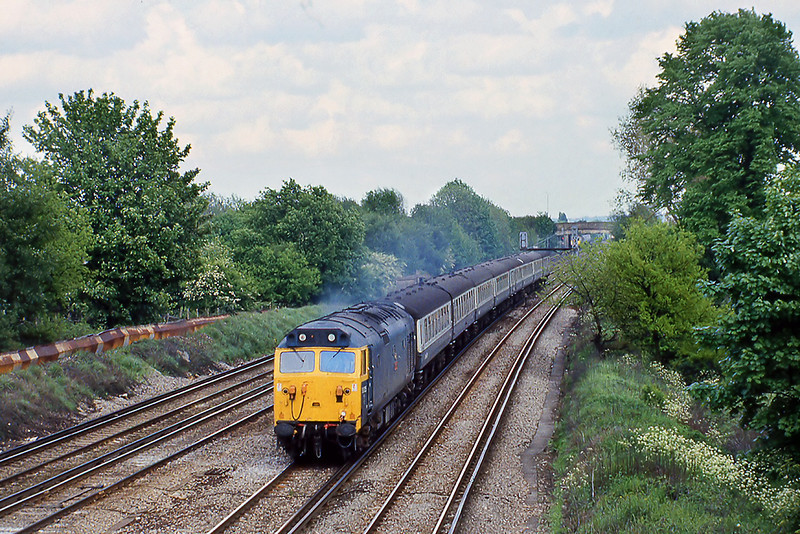 15th May 81:  50025 'Invinciible' reaches New Malden with the 15.10 Waterloo to Exeter