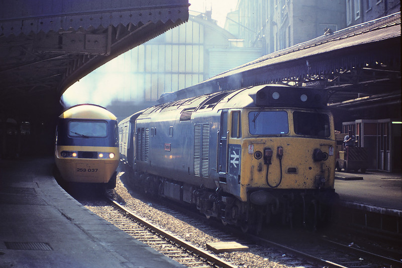 27th Aug '81: 50009 waits for the off in platform 1 at Paddington with the 10.50 to Worcester.  253037 has the 10.25 to Penzance