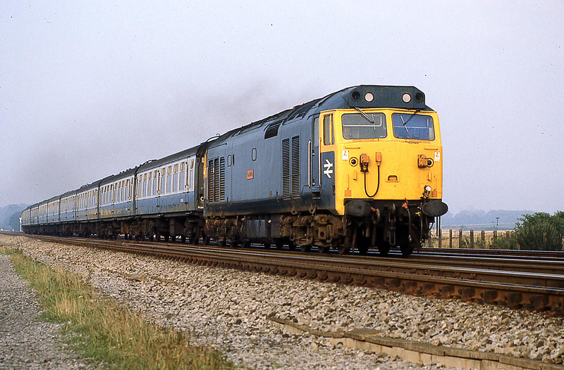 12th Aug 1981:  50011 'Centurian' has just used the Ruscombe Crossover with a morning commuter service from Oxford