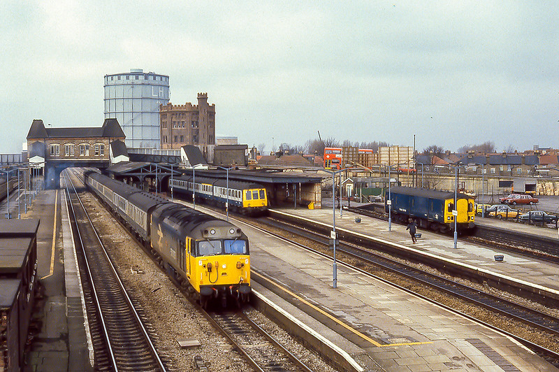 12th Jul 1981:  The old scene at Southall on a very dull July day sees 50003 'Temeraire' on the 06.04 from Hereford hammering up the main to Paddington