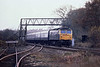 22nd Nov 81:  A crap shot but it shows the exit from Military siding just to the South of Bramley Station. The 12.38 from Poole to Leeds is powered by 47445  nears Bramley,