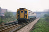 10th April 81:  Class 423 (4VEP)  nears Eghan when working the 10.05 Waterloo to Guildford
