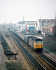9th Apr 81:  50017 'Royal Oak'  brings a Parcels service up the Relief through Slough on a rather misty afternoon