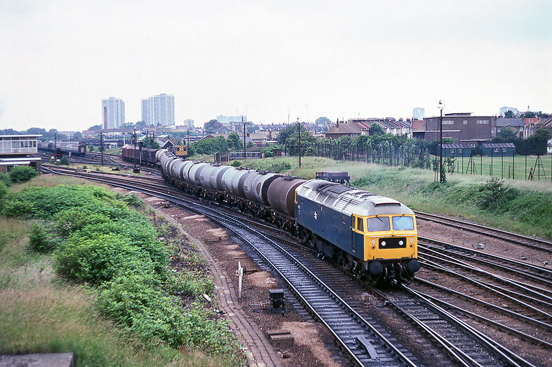 30th Jun 81:  47115 departing from Temple Mills with a freight composed mainly of TTA oil tanks.