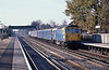13th Nov 81:  On the Slow at West Byfleet is 33111 and the Eastleigh to Clapham vans