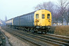 27th Jan 81:  2EPB 5674 leading on a service 38 nears Rusham Crossing in Prune Hill at Egham