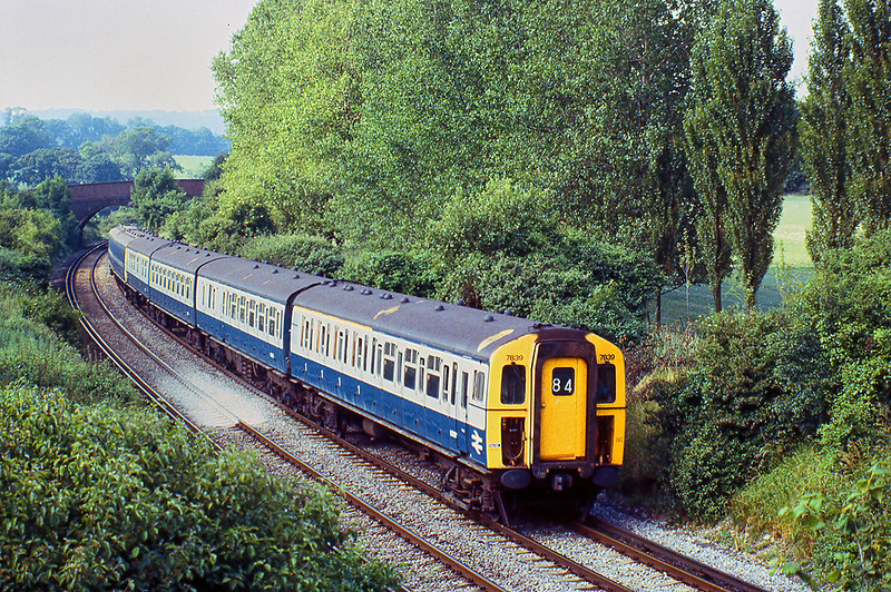 8th Jul 81:  Class 423-4VEP #7839 forms the 15.30 from Waterloo to Portsmouth.  Captured south of Petersfield on the climb to Buriton Tunnel.