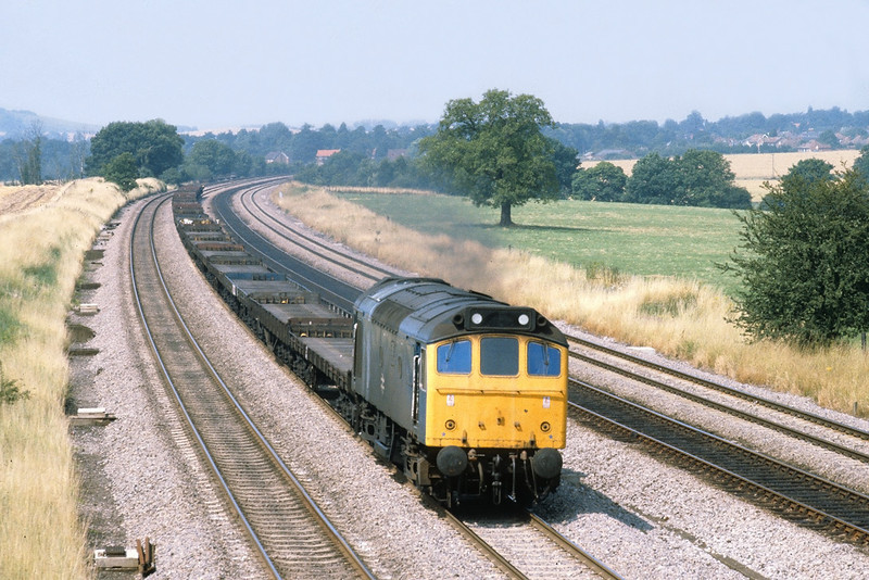 2nd Aug '81:  25175 charges up the main line through Lower Basildon with empty Car Flats