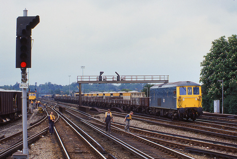 13th May 81:  73120 arrives at Woking with an engineers train