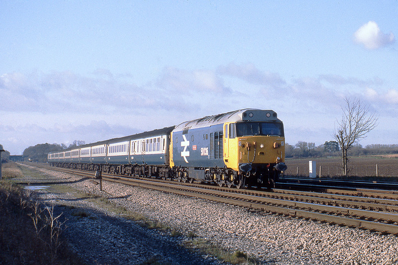 28th Nov 81:  50036 rushes away from Ruscombe with the 08.55 from Bristol Temple Meads