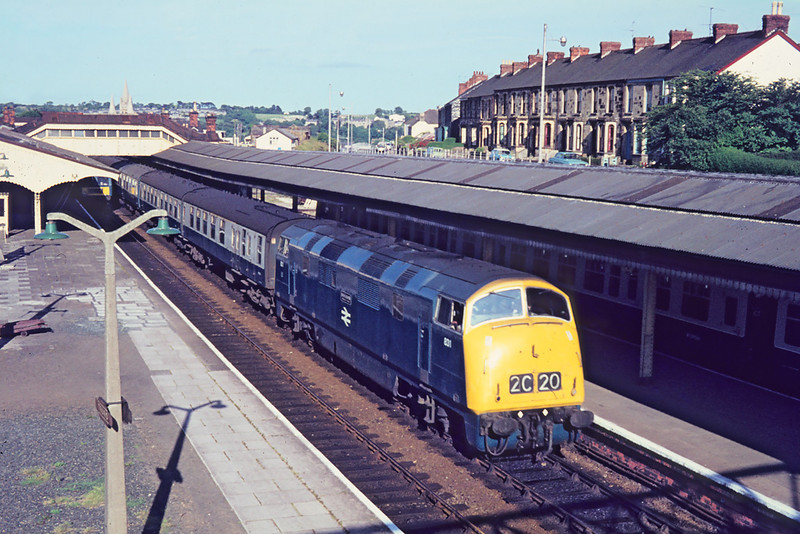 August 1972  Warship D831 Monarch stands at Truro with a Down Express