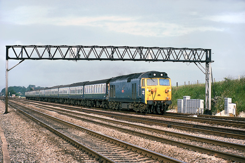 2nd Jul 81:  50028 'Tiger' heads the 08.50 from Oxford along the Relief  line through Waltham St Lawrence