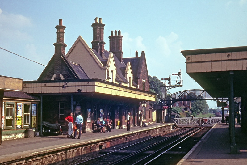 June 1969:  Wokingham Station.  The only structure still there today (2012) is the foot bridge