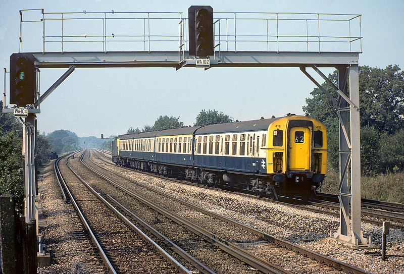 16th Sep 82:  The 10.10 from Salisbury is comprised of 4TC 416 is pushed by 33108 though Esher