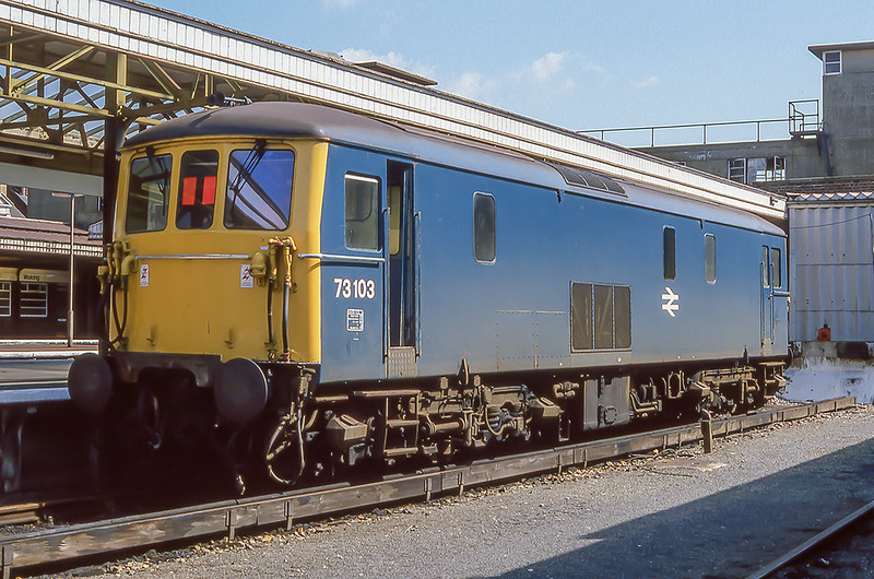 16th July 1982:  73103 resting in the Down Bay at Woking.  20 years later it was withdrawn but is still in use now owned by GBRf it is numbered 73968  and in the Caledonian Sleeper livery.