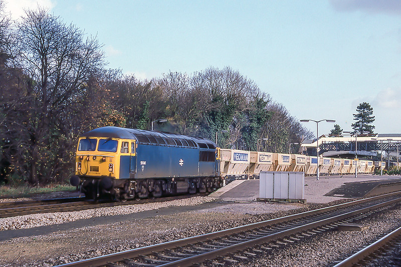 10th Nov 1982:  At 1,13pm passing though Taplow with a  rake of empty Yeoman hoppers is 56041 on it's way back to Merrehead.