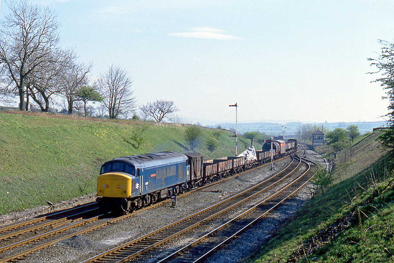 27th Apr 82:   45022 'Lytham St Annes' on a northbound freight at Settle Junction