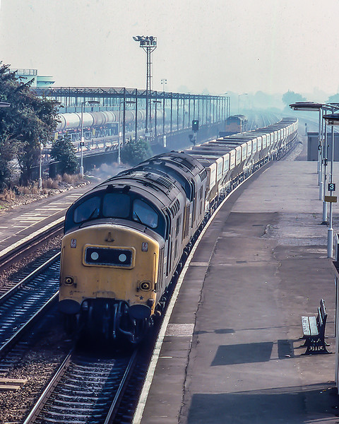 15th Sep 1982:On a misty September morning 37268 & 37186 are at Langley  as they work Yeoman hoppers back to Merehead