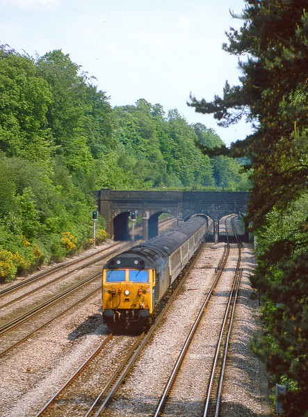 26th May 82:  Roaring under the Basingstoke Canal at Frimley Green is 50017 Royal Oak on the 13.10 Waterloo to Exeter