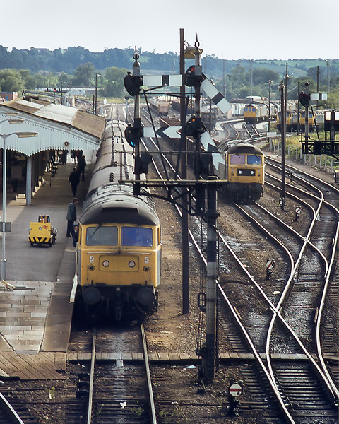 6th Sep 1982:  47192 is in Westbury's platform 4 with  the 16.03 from Weymouth to Bristol Temple Meads.  On the ri=ght there are a lot of locos on the servicing point