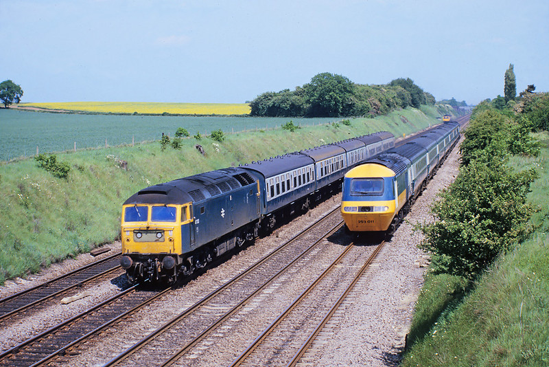 28th May '82: Milley  Bridge where 47123 is being overtaken by 253011