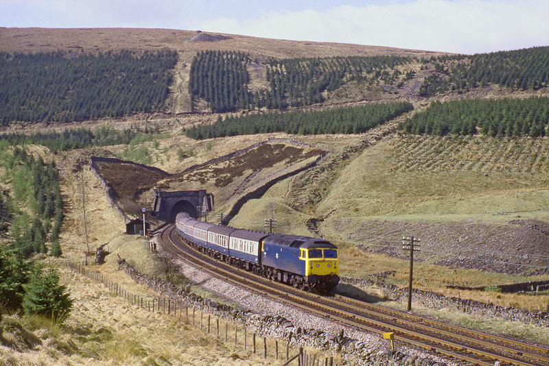 26th Apr 82:  47454 exits Blea Moor Tunnel with the 07.15 Nottingham Glasgow