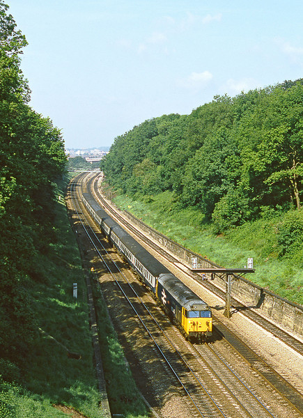 28th May 82:  Entering the Sonning Cutting is 50045 Achillies on the point of the 07.05 from Hereford to Paddington