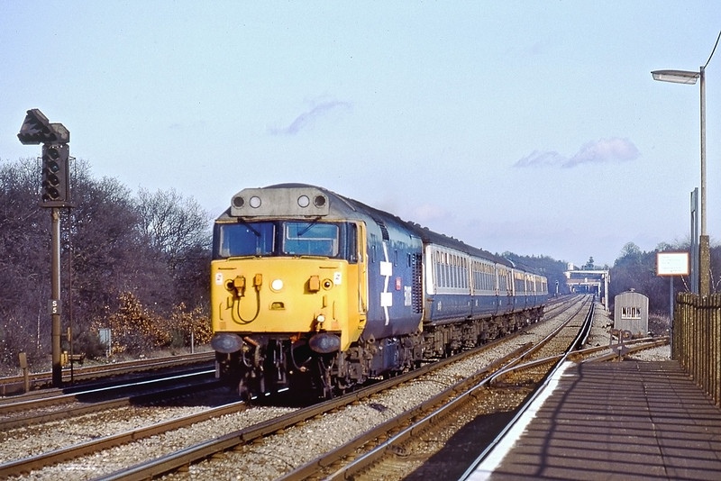 27th Jan 83:  Going well at Byleet and New Hawis 50036 working the 13.10 waterloo Exeter
