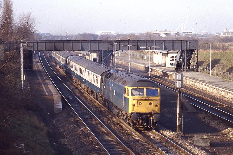 3rd Feb 1983:  47560 'Tamar' at Iver as it works the 7040 Taunton to Paddington