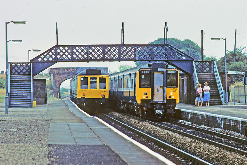 11th th Aug '83:  Prototype 4 car DMU 210001 meets the old order at Radley