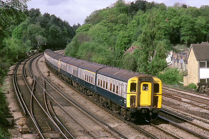 11th May 83:  4 REP 3004 arrives at Woking as the 06.55 Bournemouth Waterloo