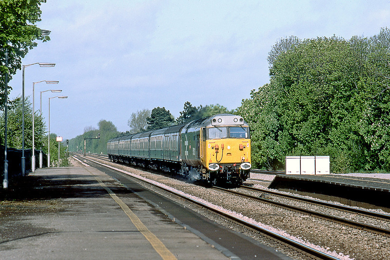 """17th May 83:  50031 """"Hood"""" races through Taplow with the 07.50 from Oxford"""