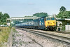 """21st Jul 83:  50022 """"Anson"""" powers the 07.05 from Hereford to Paddington on the Up Main through Taplow"""