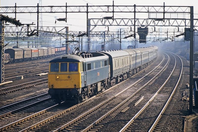 "23rd Feb '83:  86239 ""J S Lowrey"" at Harrow on the 11.10 to Birmingham"