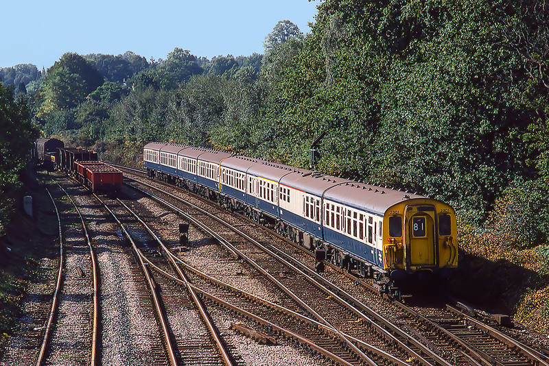 22nd Sep 1983:  Class 411 unit 7301 is nearing Woking as it forms the 09.55 from Portsmouth to Waterloo.  These sets were originally built for the Kent Coast electrification in the late 1950s.