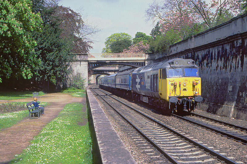 15th May 83:  50032 Corageous passes through Sydney Gardens  in Bath with a service from Paddington