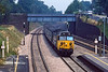 27th Jul 1983:  Passing through Goring & Streatly station is 50035 'Corageous' on the 08.20 from Liverpool to Paddington.  The wide space between the platforms indicates that the original 'Broad Guage' were there.