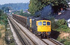 4th Oct 1083:  With Chertey Station in the distance 33063 & 33013 cross Addlesone Moor with a  rake of old rusty hoppers