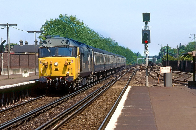 6th Jun 83:  50012 Benbow arrives at Woking on the 13.10 Waterloo Exeter
