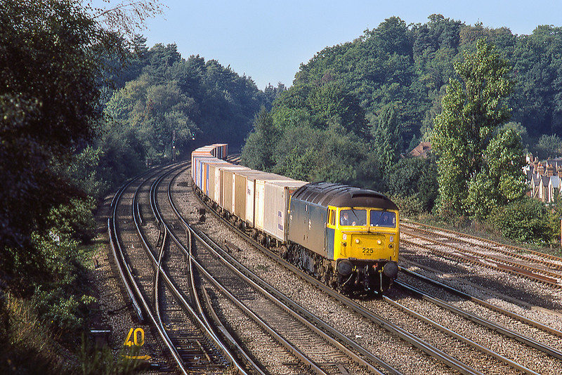 22nd Sep 1983:  47225 is nearing Woking as it works from Southampton to Stratford in East London