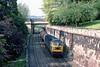 6th Jun 83:  47030 with a rake of bogie oil tanks west bound through Sydney Gardens in Bath