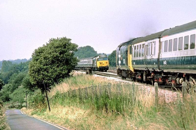 13th Jul 83:  50004 working the10.01 Paddington to Oxford is about to pass 50011 on the 09.10 Bristol Temple Meads to Paddington