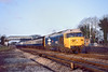 1st Feb 83:  The 08.15 from Newbury powered by 50012 Benbow races through Taplow on a cold clear winte'sr morning