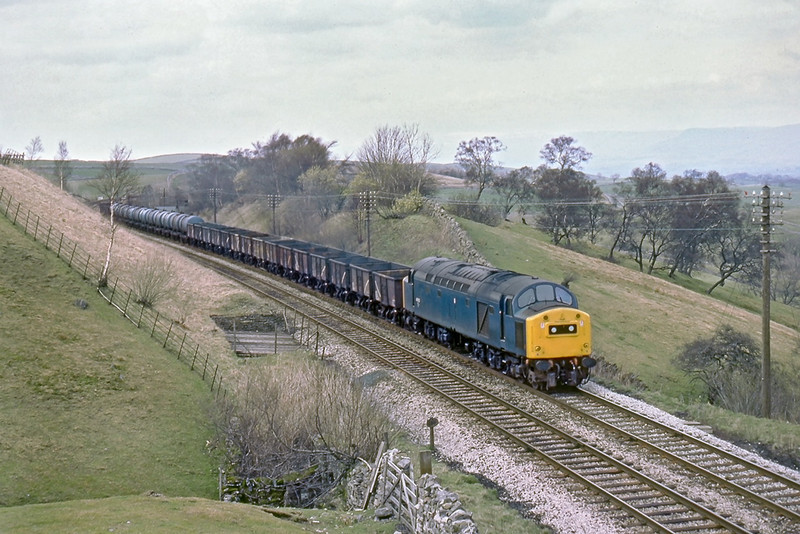 18th Apr 83:  Nearing Birkett Tunnel is 40152 on a southbound mixed freight