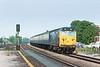 "13th May 83:  50021 ""Rodney"" thrashes down the Main through Taplow with the 16.52 Paddington to Westbury"
