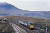 18th Apr 83:  31405 on the 08.57 Leeds to Carlisle has just passed Blea Moor signal box