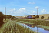 1st Aug '84:  On a beautiful summers's day 56038 coasts down hill beside the Kennet & Avon canal near Froxfield Lower Lock