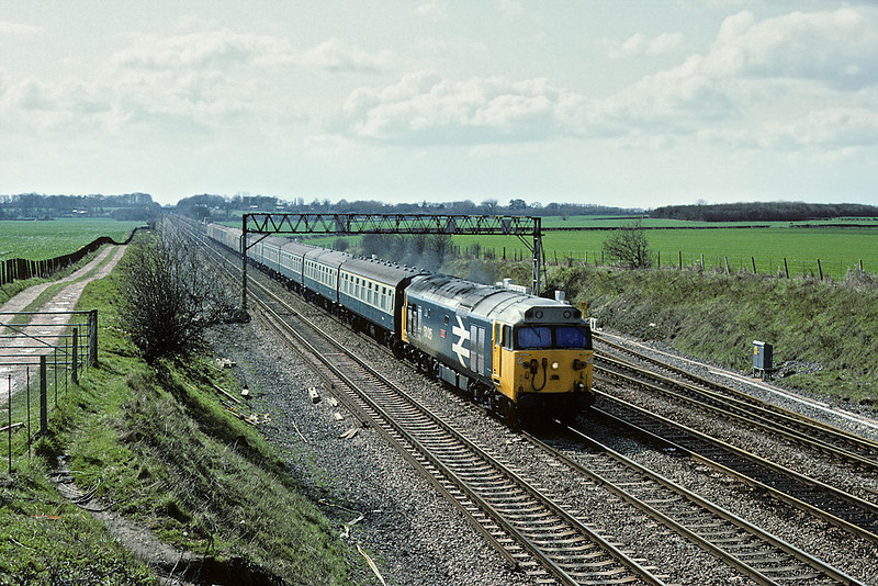 1st Apr 1983:  50015 'Valiant' on the 14.15 from Oxford to Paddington at Waltham St Lawrence