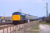 4th Apr 1984:  Passing the site of the Taplow goods yard is 45102 on the 13.07 Paddington to Plymouth.  The Class 45  had usually  worked a train from Cardiff earlier in the morning