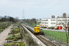 18th Apr 84: 2EPB 5682 heads for Wimbledon on the 13.52 from West Croydon. Pictured here between Mitcham and Morden Halt.  This line is now part of the Croydon Tramway system.